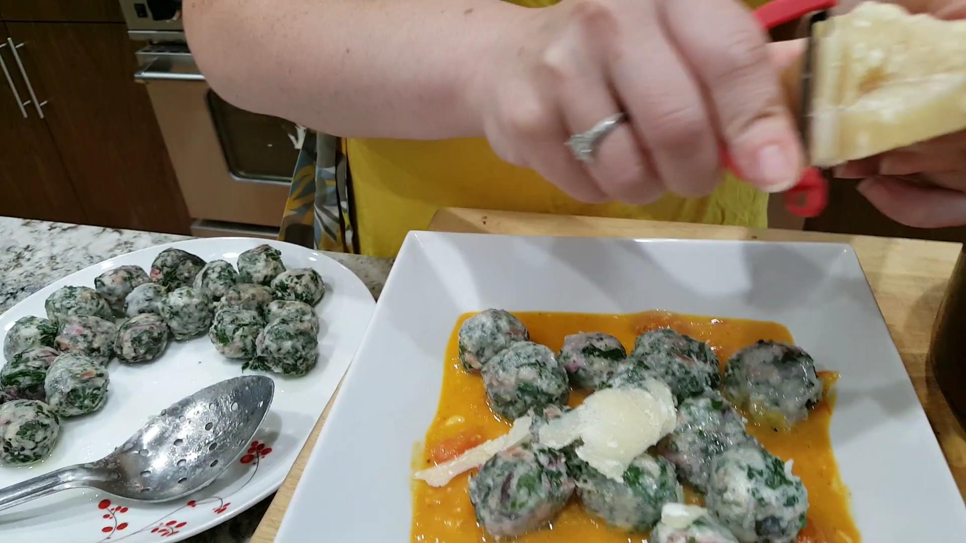Ricotta and Greens Gnudi in Roasted Tomato Sauce, Parmesan Garnish